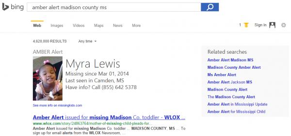 [图]微软Bing搜索引擎加入安珀警报 帮助搜索被绑儿童