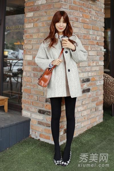 冬季显高搭配技巧 短款呢子大衣最佳
