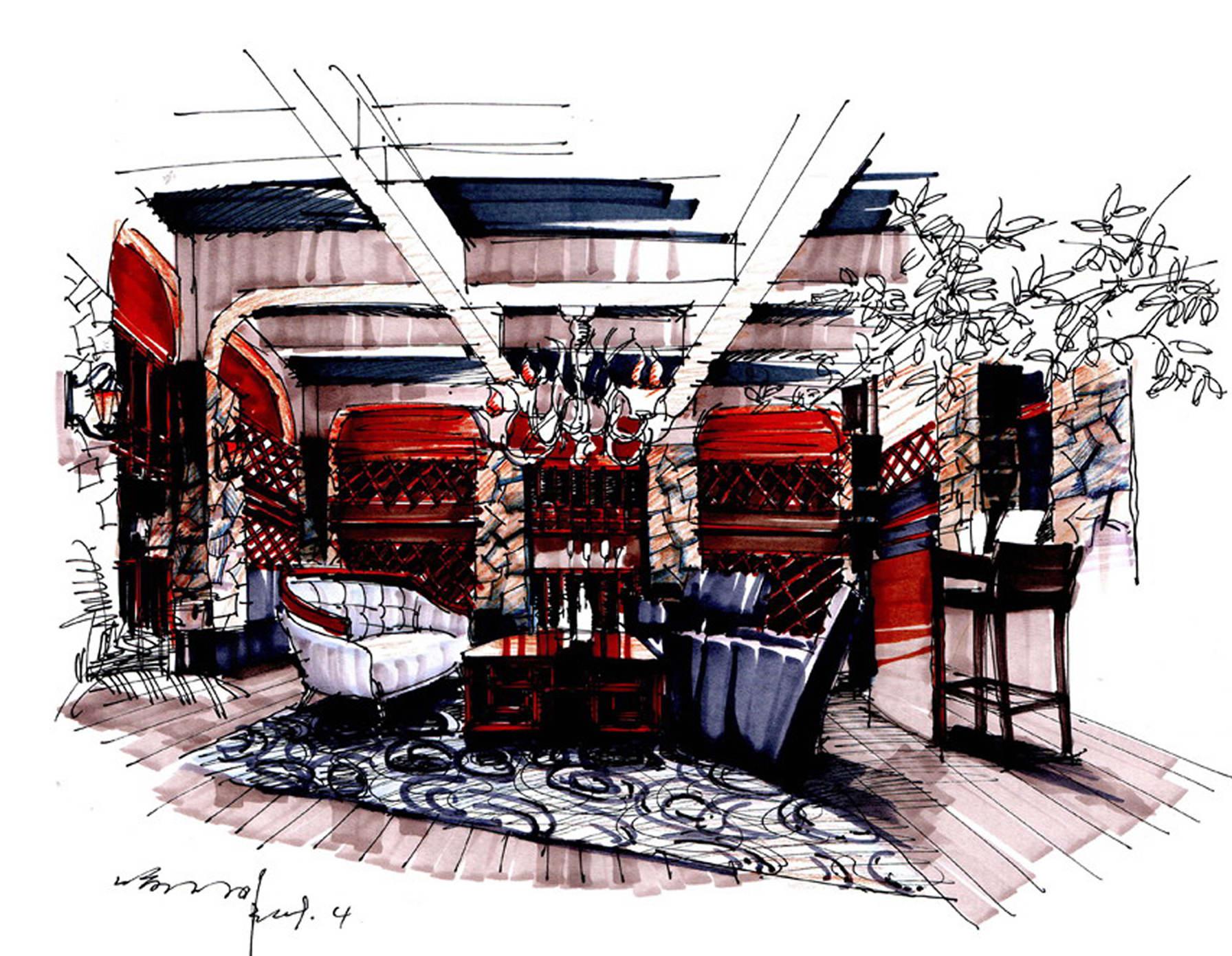 馬克筆>-手繪100網投稿中心; 酒窖設計效果圖圖片;
