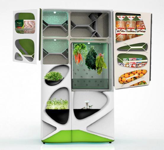 超酷多空间智能冰箱设计:内部有n多小格子
