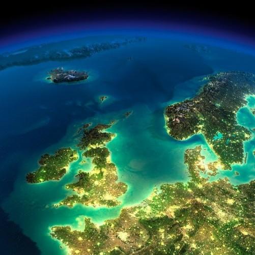 英国,北海,斯堪的纳维亚半岛以及远处的冰岛